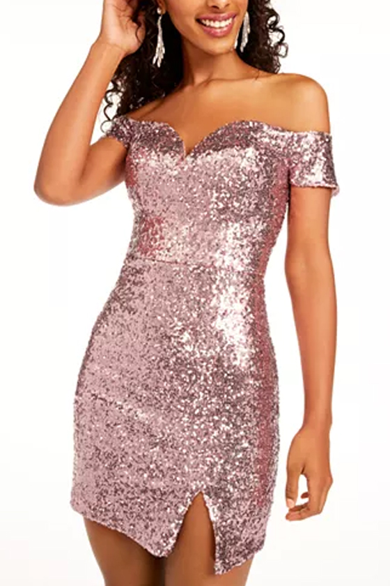 B Darlin Juniors' Off-The-Shoulder Sequined Bodycon Pink Dress