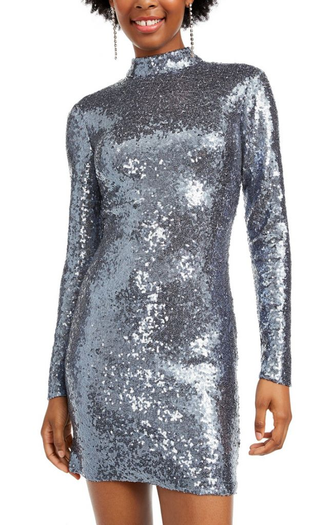 B Darlin Juniors' Sequined Open-Back Bodycon Gunmetal Dress
