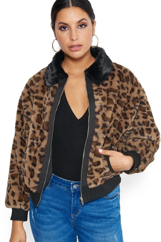 Bebe Leopard Bomber Jacket