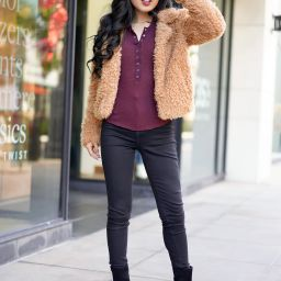 BlankNYC Faux Fur Teddy Coat, Free People One of the Girls Berry Henley, Michael Michael Kors Frenchie Platform Boots