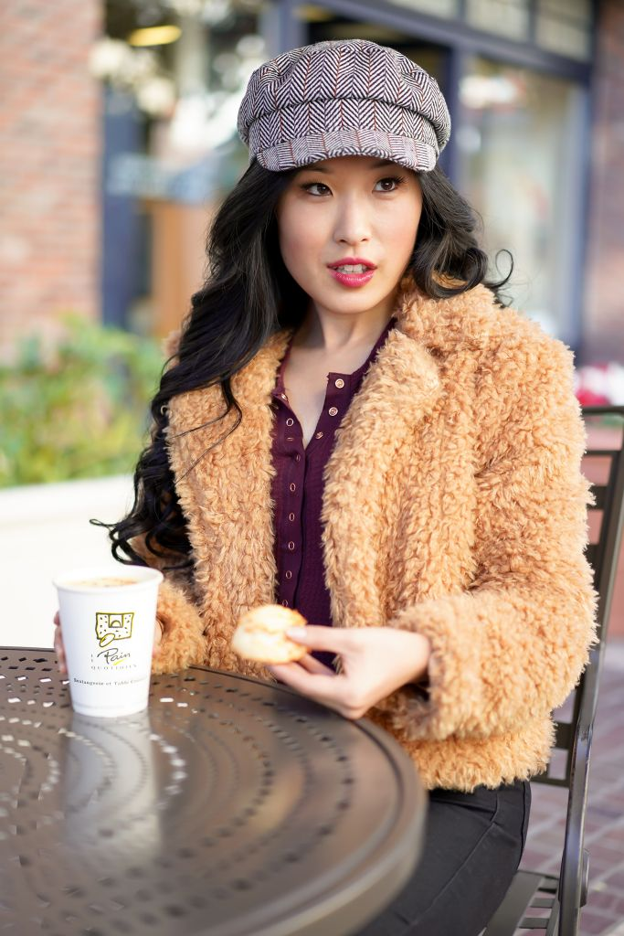 BlankNYC Faux Fur Teddy Coat, Free People One of the Girls Berry Henley