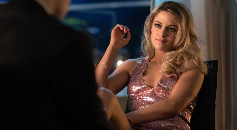 risten Stewart stars in Charlie's Angles pink sparkly dress in opening sequence