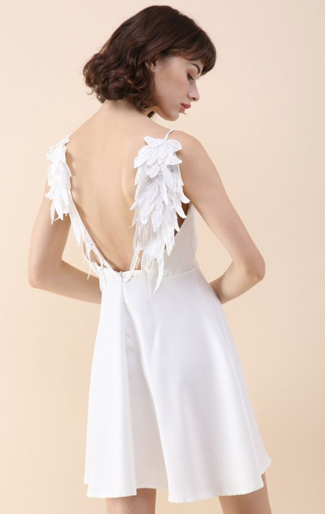 Chicwish Angel's Wings Cami Dress in White