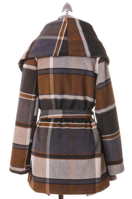 Chicwish Prairie Check Rabato Coat by Chic+ Back