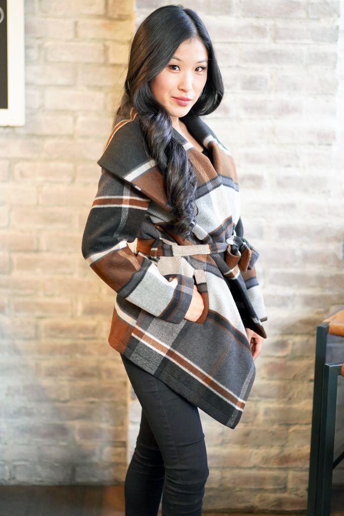 Chicwish Prairie Check Rabato Coat by Chic+