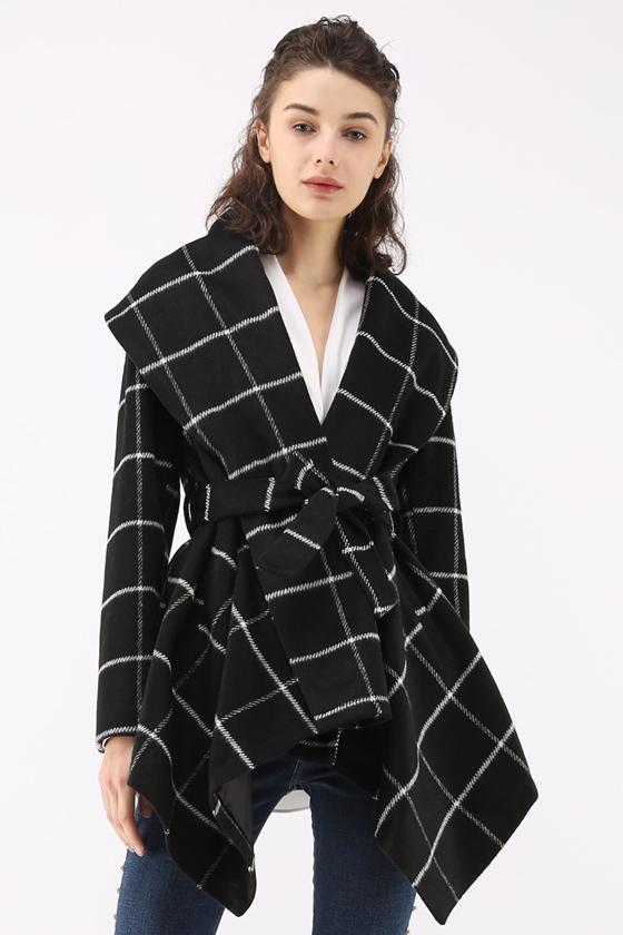 Chicwish Prairie Grid Rabato Coat in Black