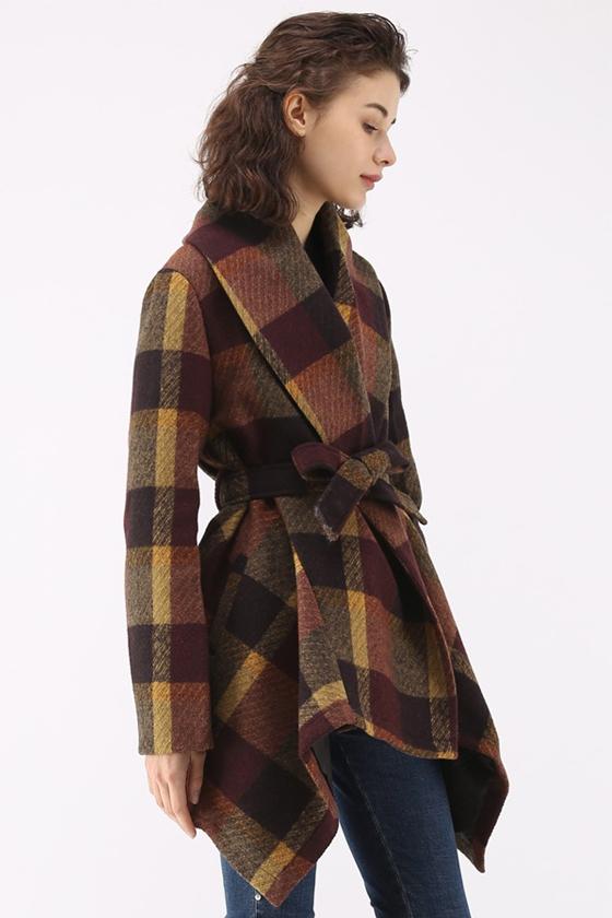 Chicwish Prairie Grid Rabato Coat in Plum