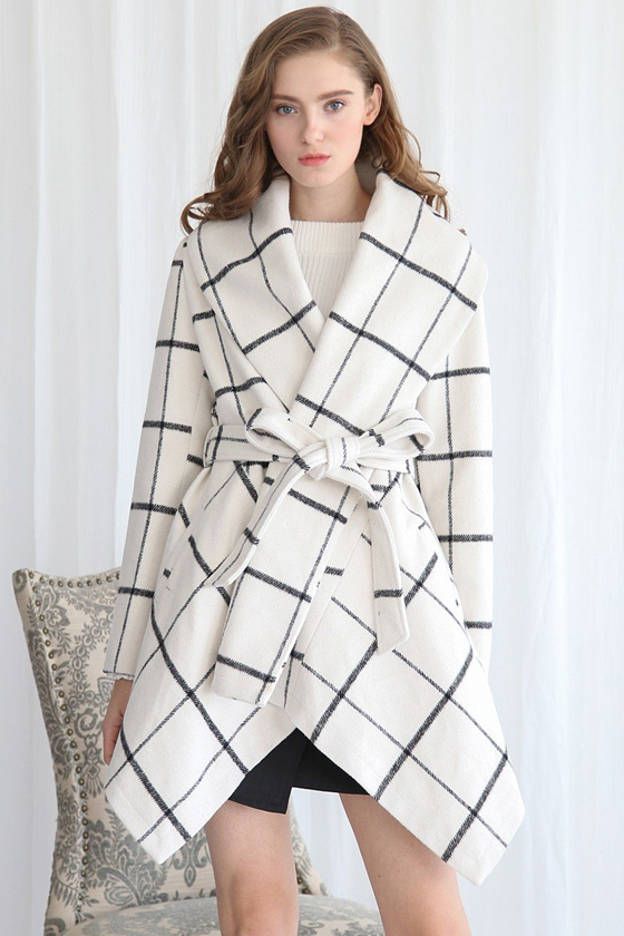 Chicwish Prairie Grid Rabato Coat in White