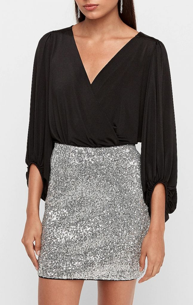 Express High Waisted All-Over Sequin Silver Mini Skirt