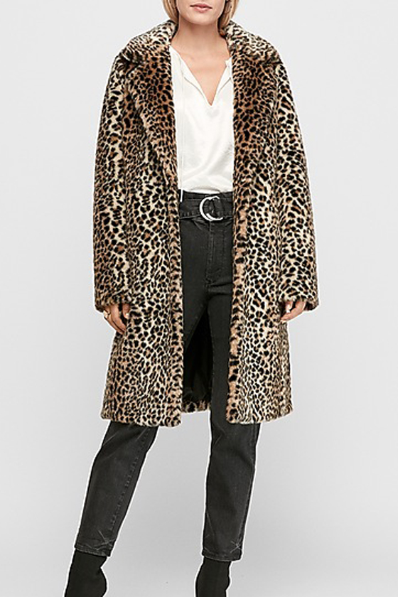 Long Faux Leopard Fur Coat