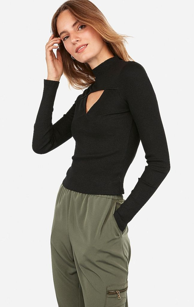 Express Ribbed Triangle Cut-Out Long Sleeve Tee