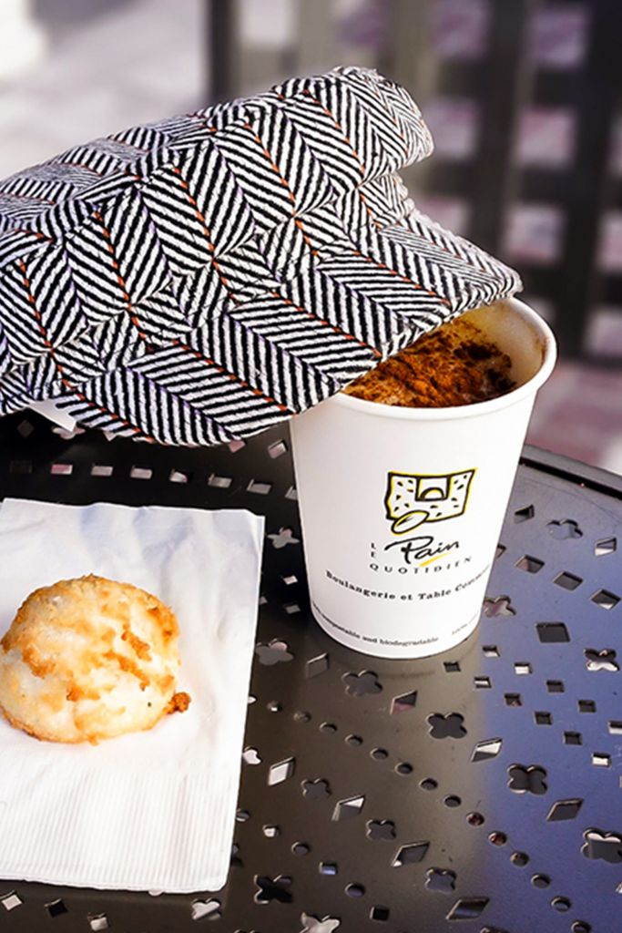 Le Pain Quotidien Pumpkin Spice Latte, Coconut Macaroon, Forever 21 Chevron Cabbie Hat