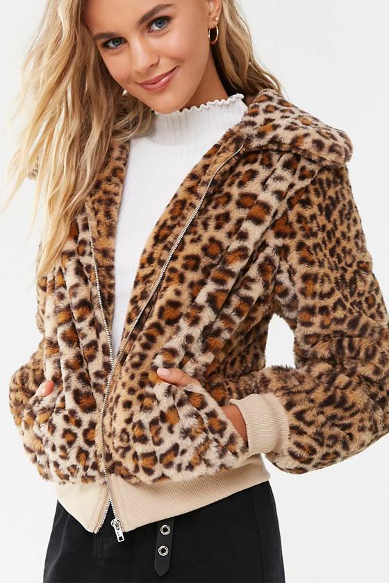 Forever 21 Faux Fur Leopard Print Jacket