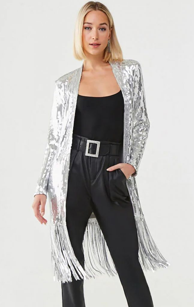 Forever 21 Sequin silver Fringe Wrap Coat Duster