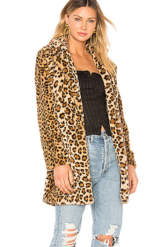 I am Gia Sahara Faux Fur Leopard Coat