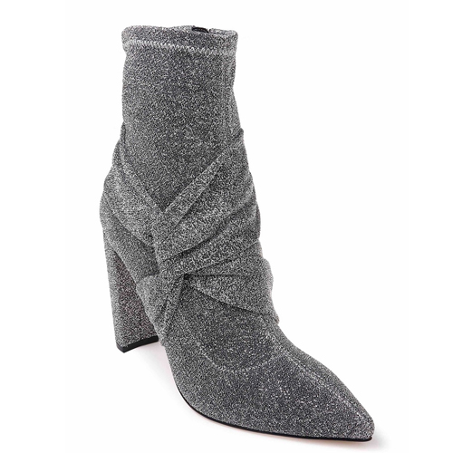 Jewel Badgley Mischka Romance Stretch Silver Booties