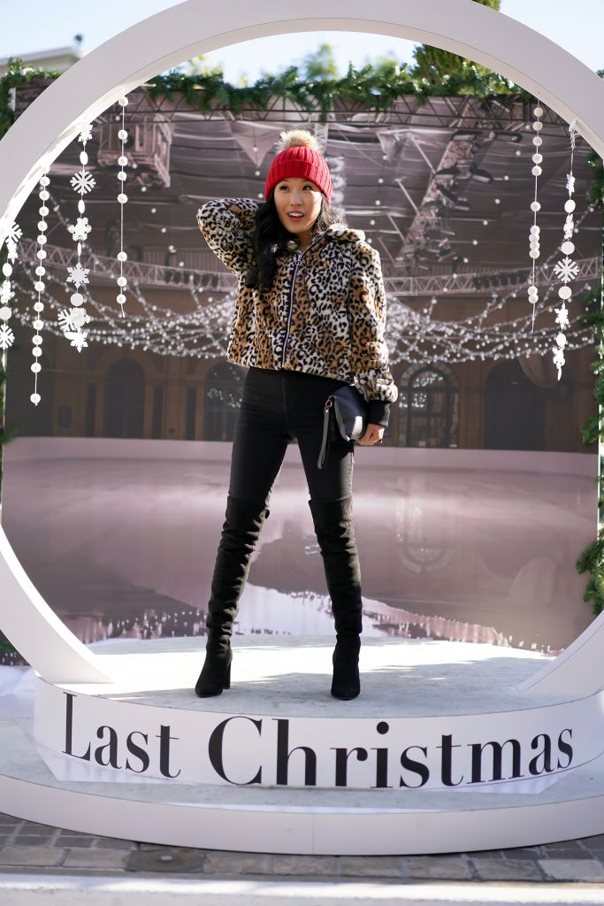 Last Christmas Ice Skating Scene, The Grove, Nine West Faux Fur Leopard Bomber Jacket, J Crew Red Puff Beanie