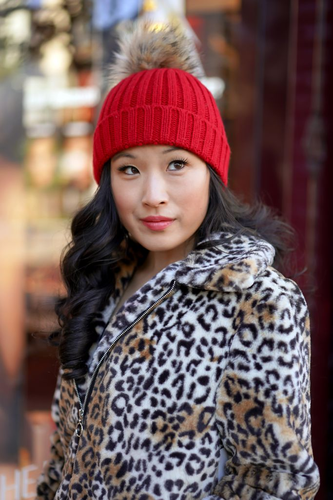 Last Christmas Inspired Look, J. Crew Ribbed Red Beanie with Faux Fur Pom Pom and Nine West Faux-Fur Leopard Bomber Jacket