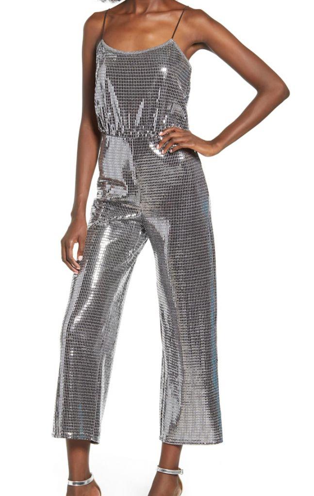 Leith Sparkle Sleeveless Metallic Silver Jumpsuit