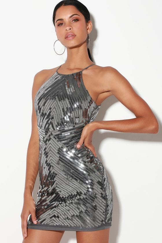 Lulus Ace of Spades Gunmetal Sequin Bodycon Dress