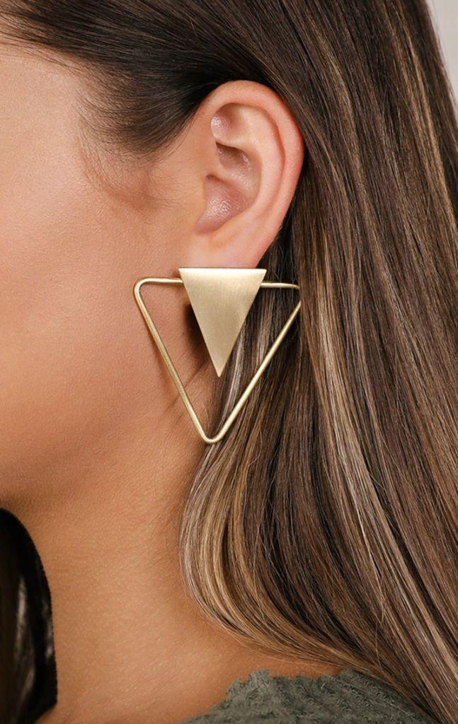 Lulus Apex Gold Triangle Earrings