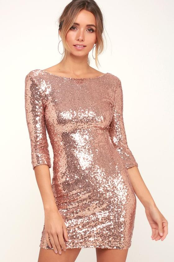 Lulus Delightful Ways Rose Gold Sequin Dress
