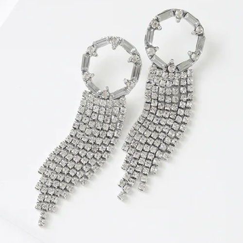 Lulus Donna Silver Rhinestone Statement Earrings