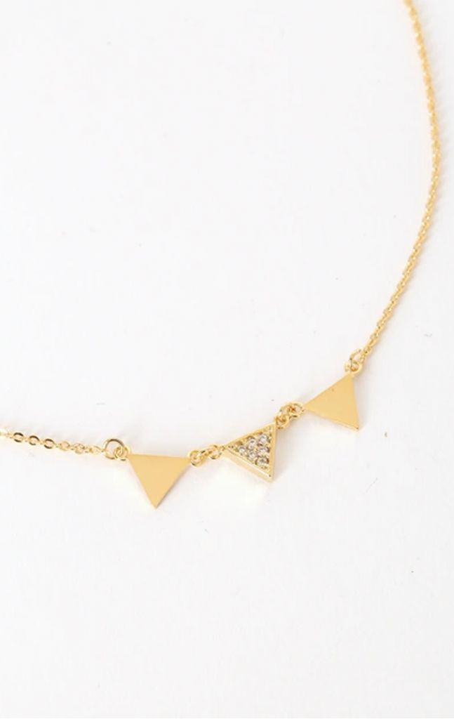 Lulus Phelicia Gold Rhinestone Triangle Necklace