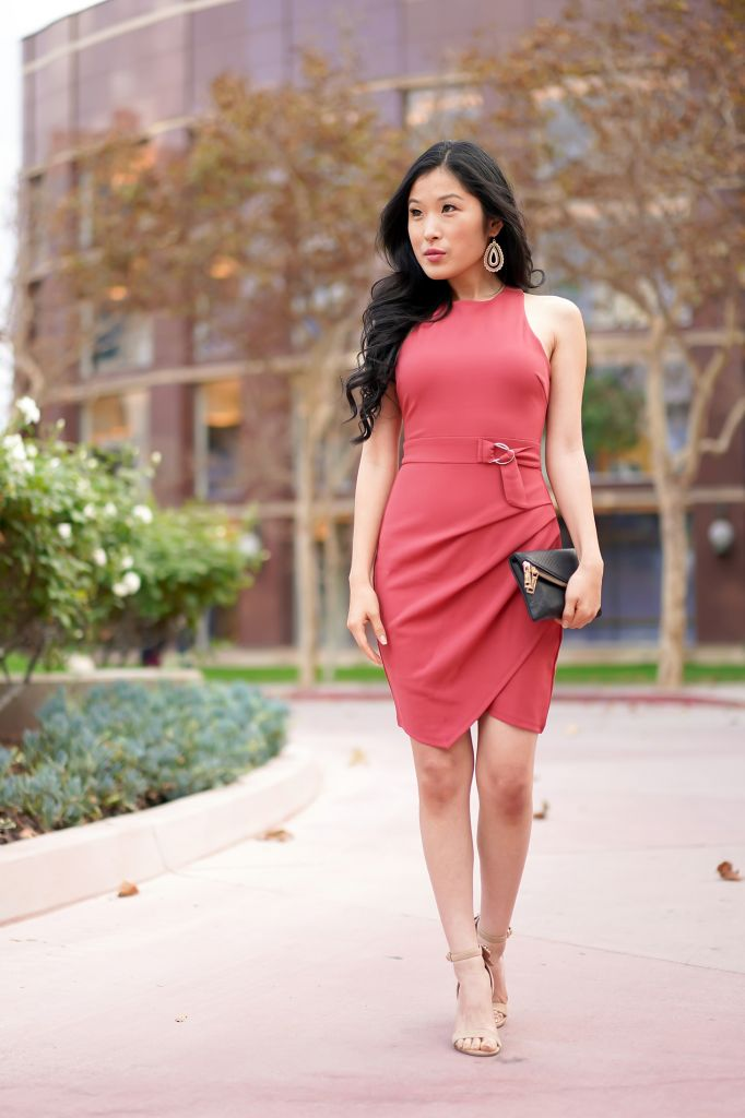 Teeze Me Belted Asymmetrical Wrap Dress
