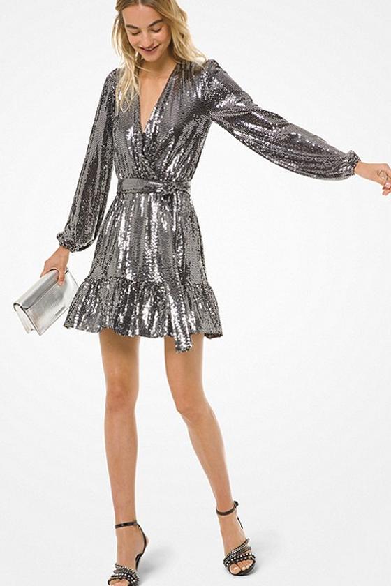 Michael Michael Kors Mirror Dot Matte-Jersey Crossover Dress