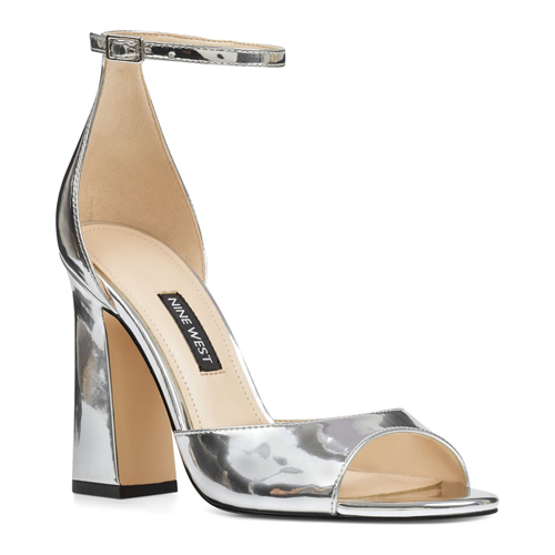 Nine West Gavyn Ankle Strap Silver Sandal