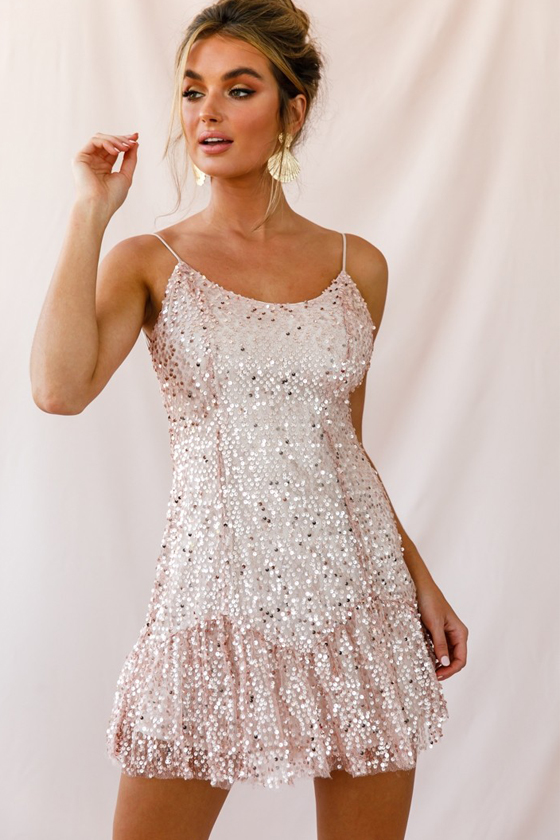 Selfie Leslie Shine Spaghetti Strap Sequin Mini Dress Rose Gold