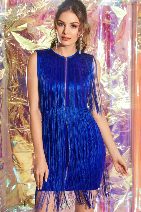 SHEIN Zip Front Fringe Overlay Bodycon Blue Dress