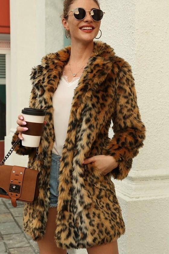 SHEIN Leopard Print Faux Fur Coat