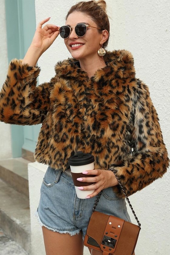 SHEIN Leopard Print Hooded Faux Fur Coat