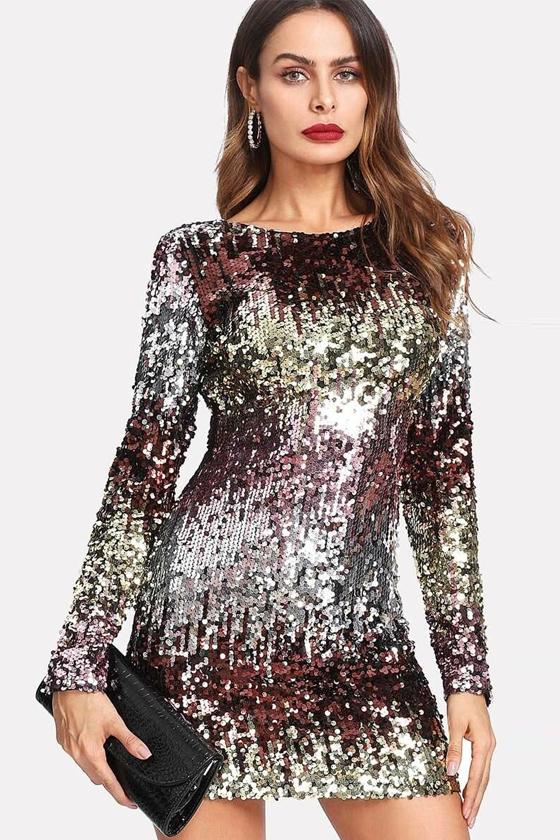 SHEIN Ombre Sequin Mini Dress