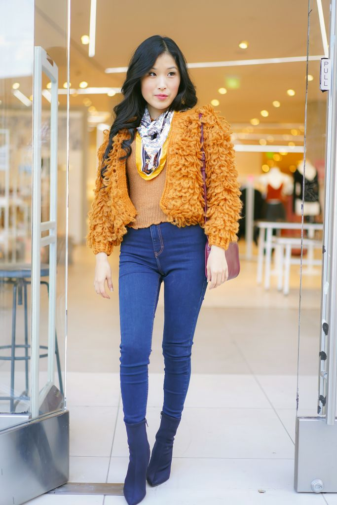 SHEIN Popup Los Angeles at the Americana, SHEIN Open Front Loop Knit Cardigan, Yellow Lettuce Trim Ribbed Crop Top. Floral Pattern Scarf