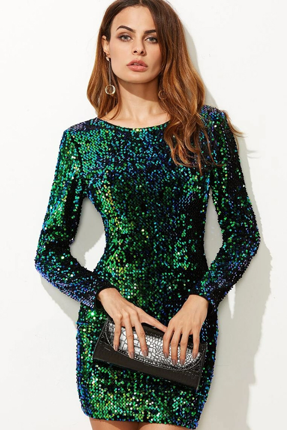 SHEIN V Back Sequin Bodycon Mini Dress