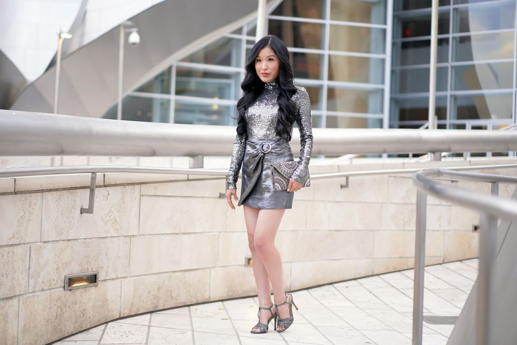 House of Harlow Valerie Turtleneck and House of Harlow Bobbi Skirt, Sequin Holiday Look