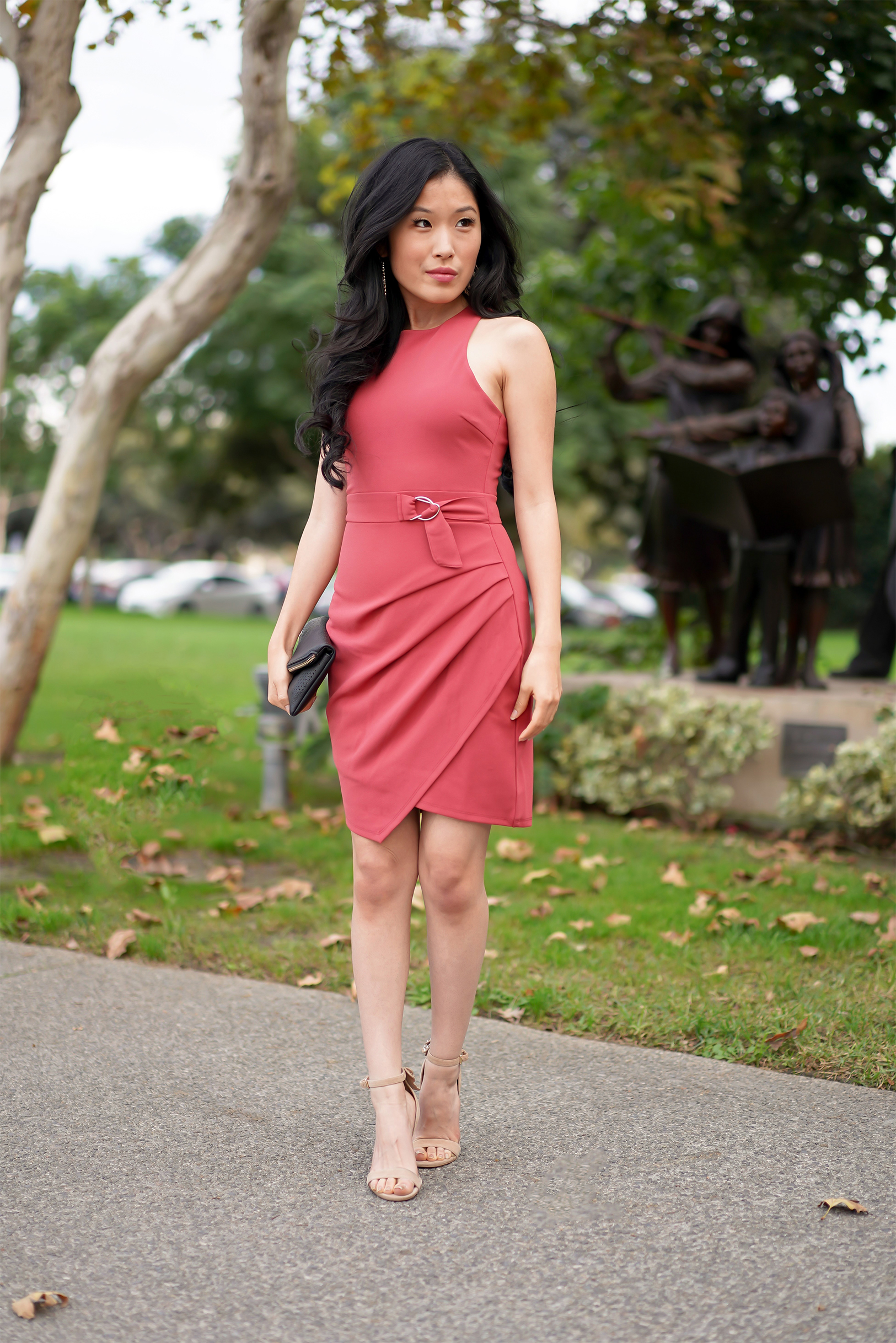 Teeze Me Belted Asymmetrical Wrap Dress