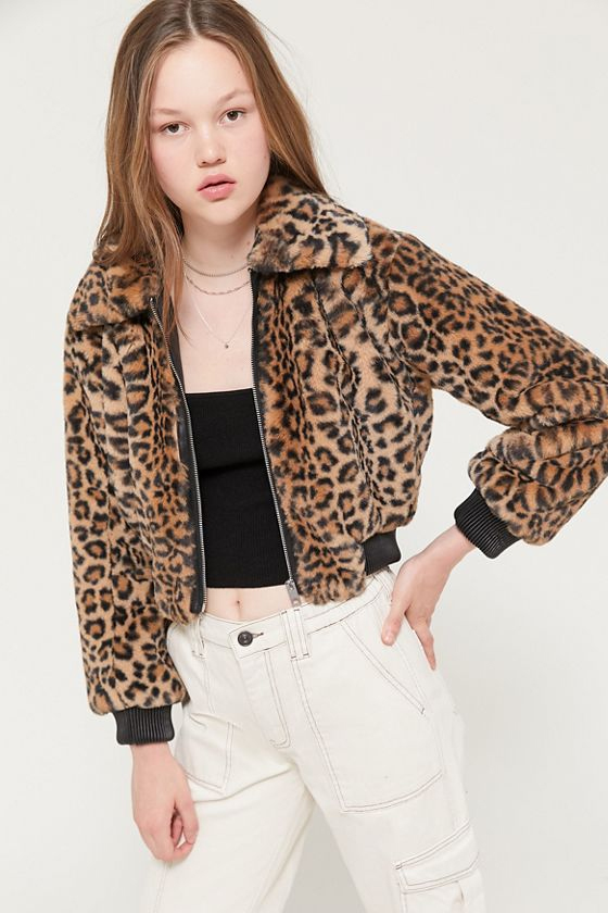 Urban Outfitters UO Leopard Faux Fur Cropped Bomber Jacket