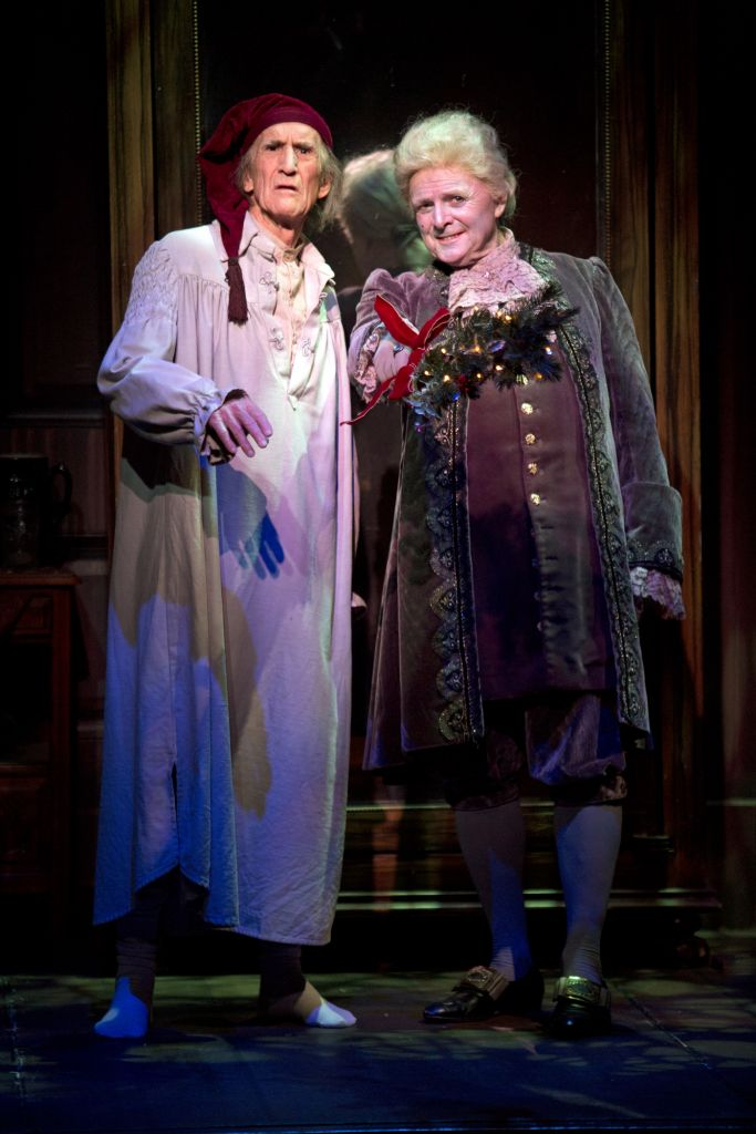 South Coast Repertory A Christmas Carol Scrooge and Ghost of Christmas Past