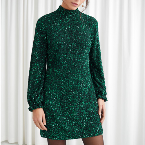 & Other Stories Balloon Sleeve Sequined Mini Green Dress