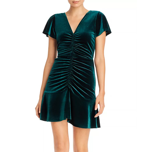 Aqua Ruched Emerald Green Dress
