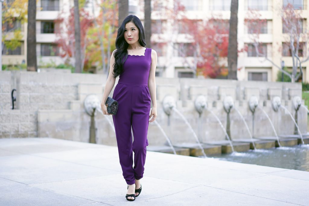 Aqua Scalloped Cropped Jumpsuit in Plum , Outside Avenue of the Arts Hotel Lake and Lion Fountain, Courtney Kato