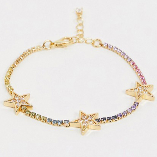 ASOS Design Gold Plated Bracelet With Rainbow Cubic Zirconia Stars