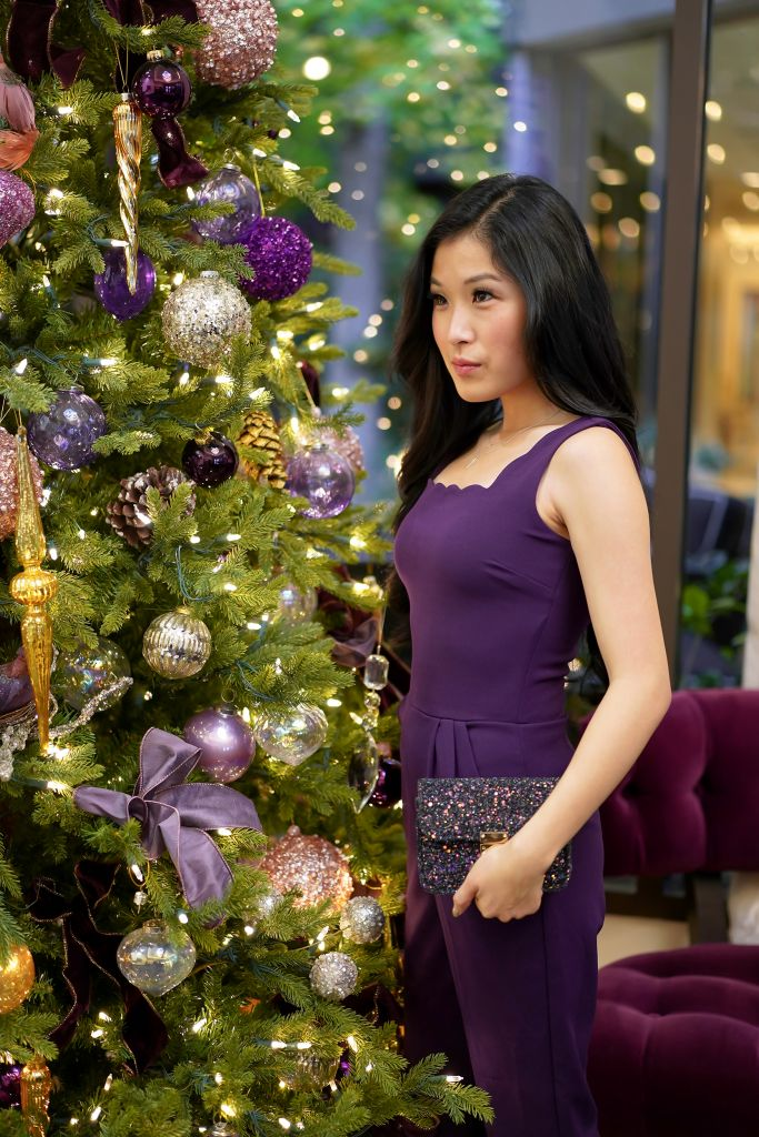 Christmas Tree at the Avenue of the Arts Hotel in Costa Mesa, Plum Jumpsuit, Courtney Kato
