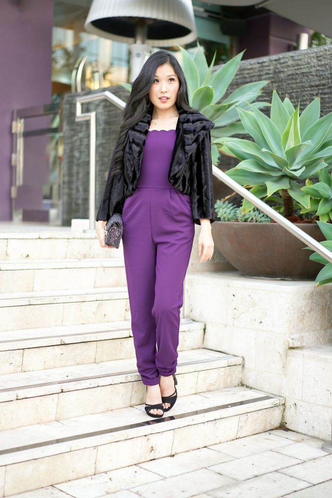 Aqua Scalloped Cropped Jumpsuit in Plum with Black Faux Fur Bolero, Outside Silver Trumpet Restaurant Entrance, Courtney Kato