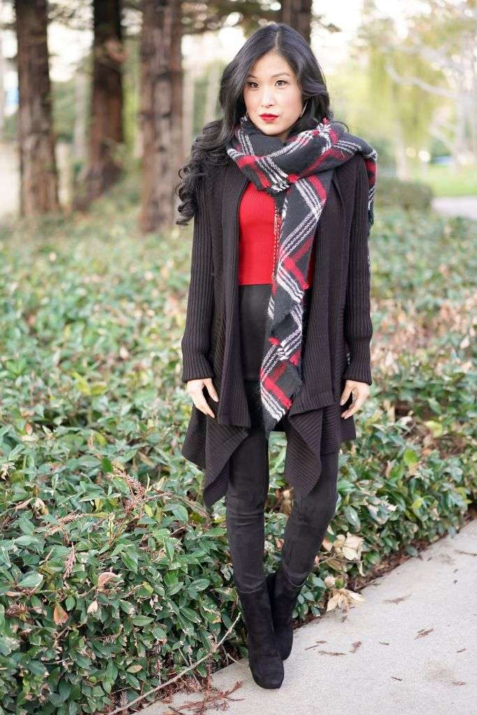 Red and Black Blanket Scarf with White House Black Market Black Ribbed Cover-Up Sweater