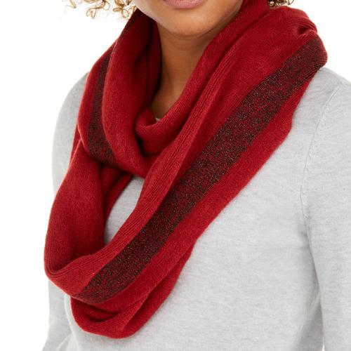 Calvin Klein Red Lurex Stripe Warp Knit Loop